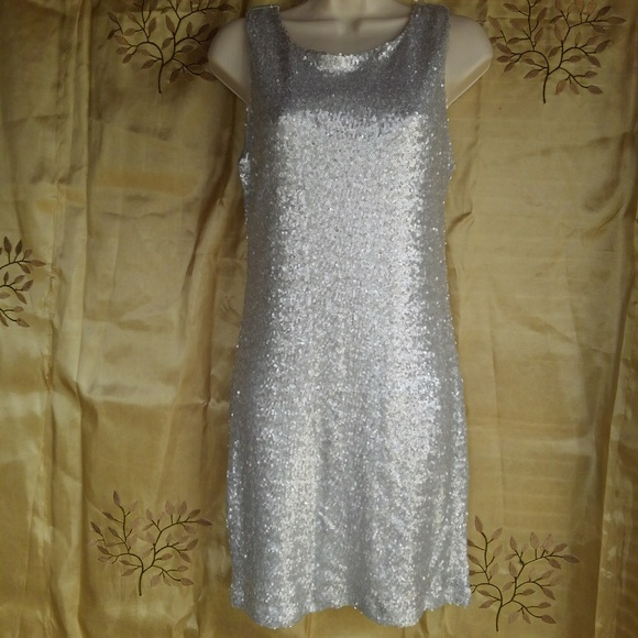 Crystal Doll Dresses & Skirts - Silver Glitter Sequins Stretch Dress